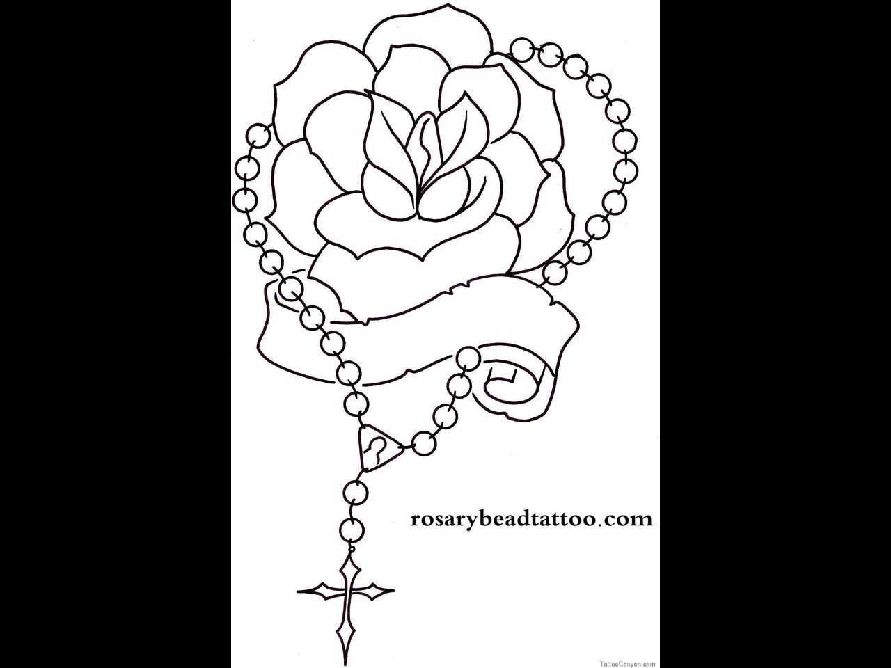 Praying Hands With Rosary And Roses
