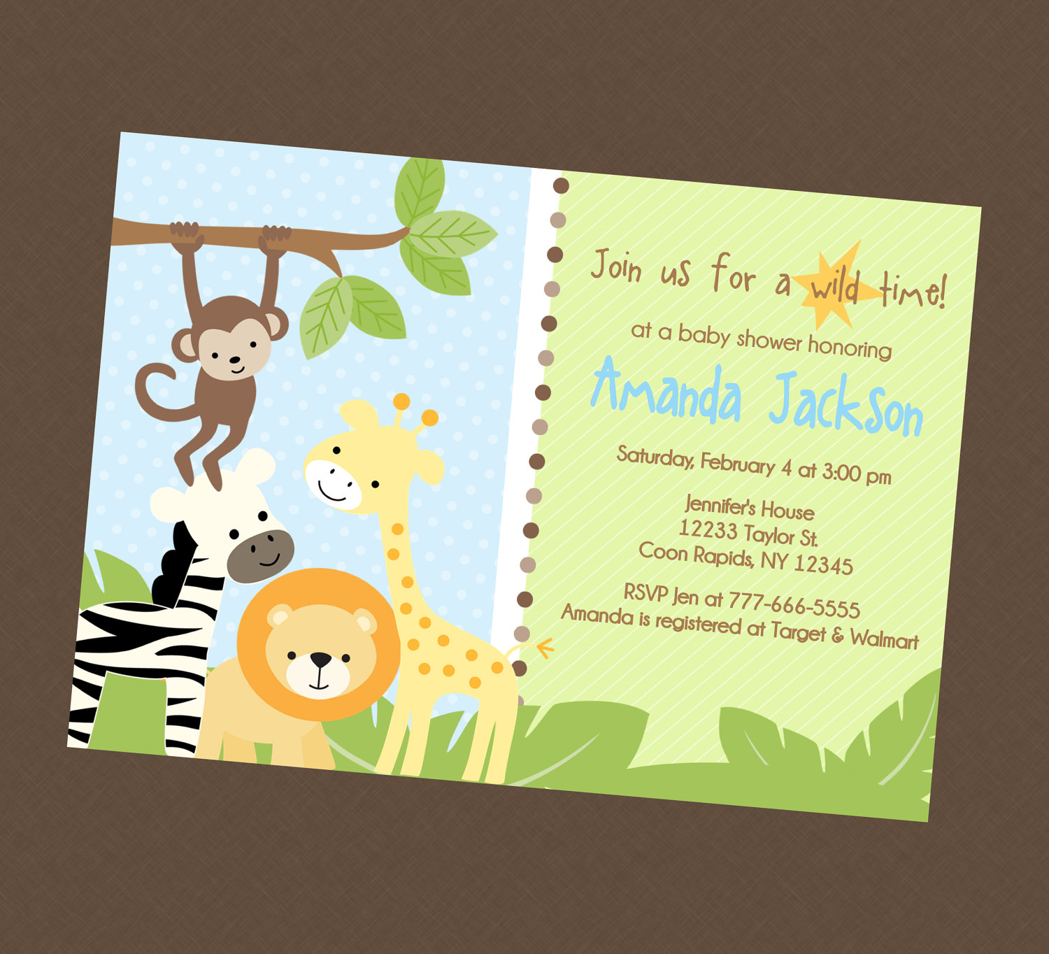 Jungle Safari Baby Shower Invitations N2 Free Image