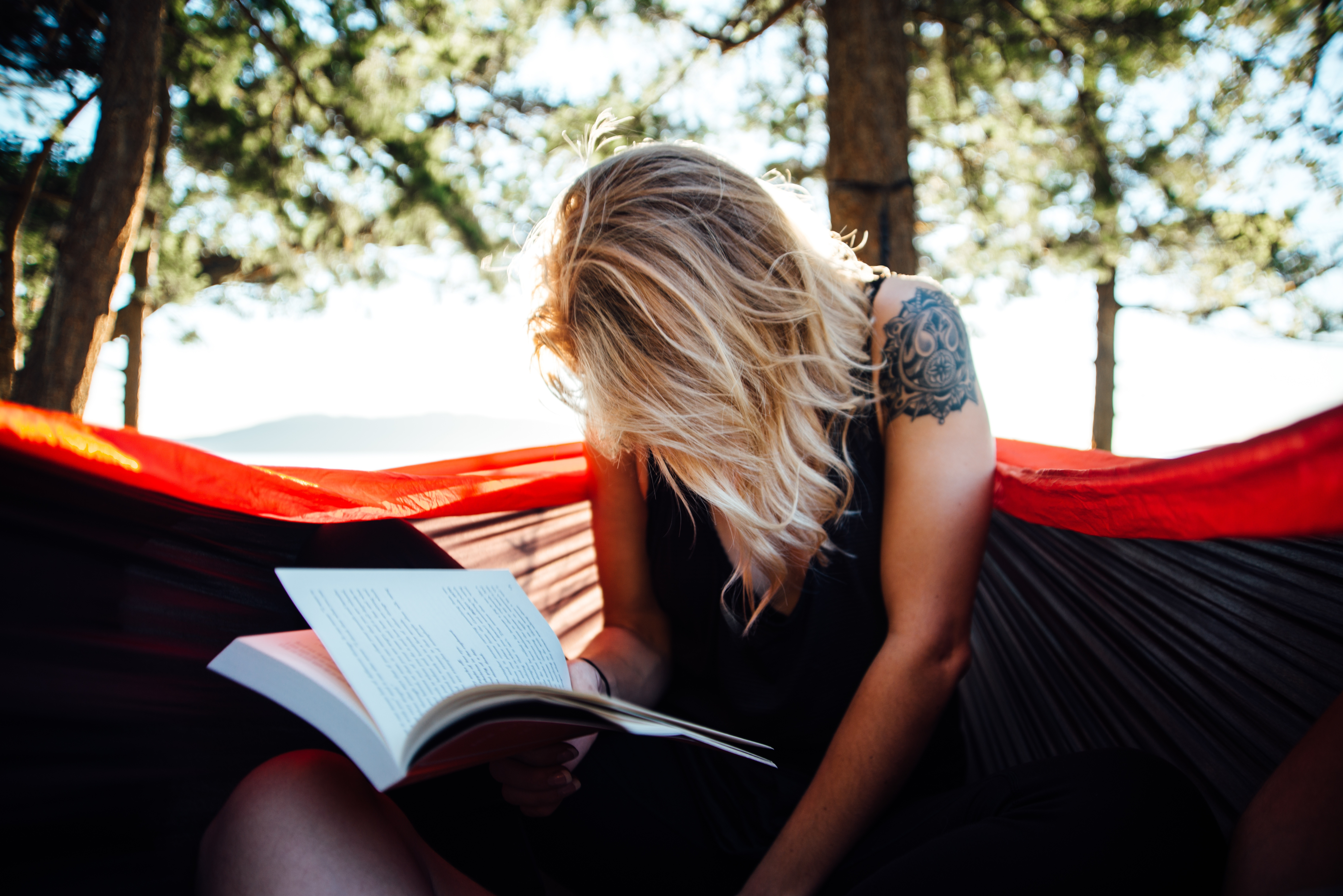 Blonde Woman Reading Book Read At Nature Free Image