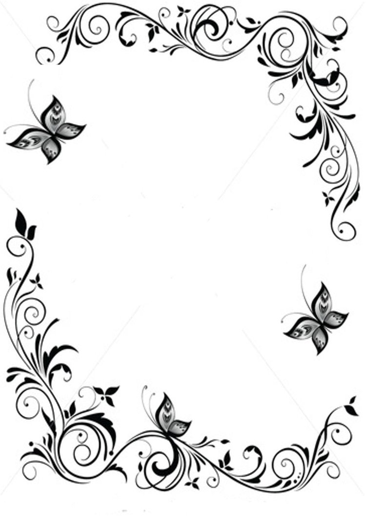 Black And White Butterfly Border Designs Free Image