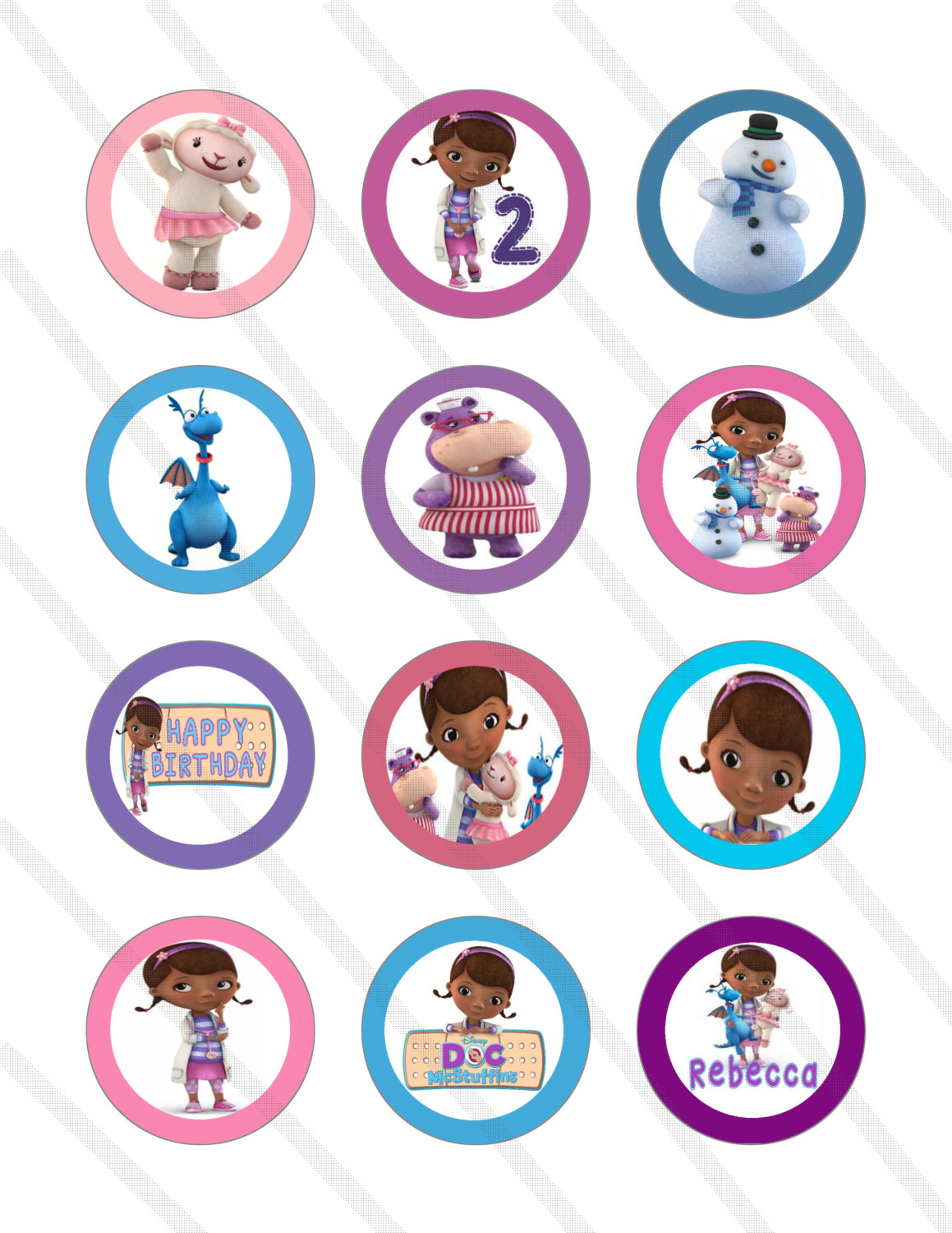 graphic regarding Printable Doc Mcstuffins called Document McStuffins Printable Cupcake Toppers free of charge picture