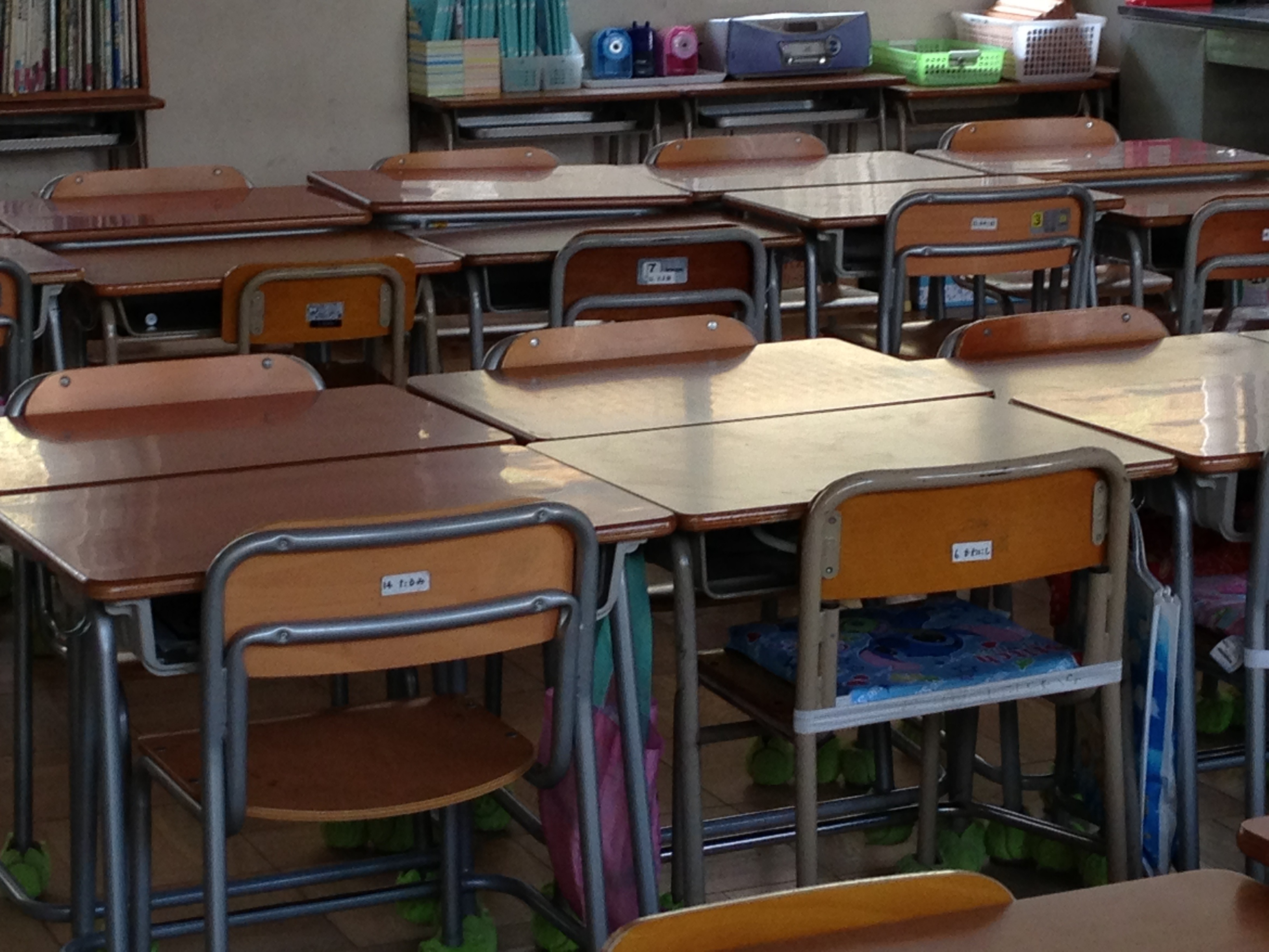 School desks and chairs in a school classroom in japan free ...