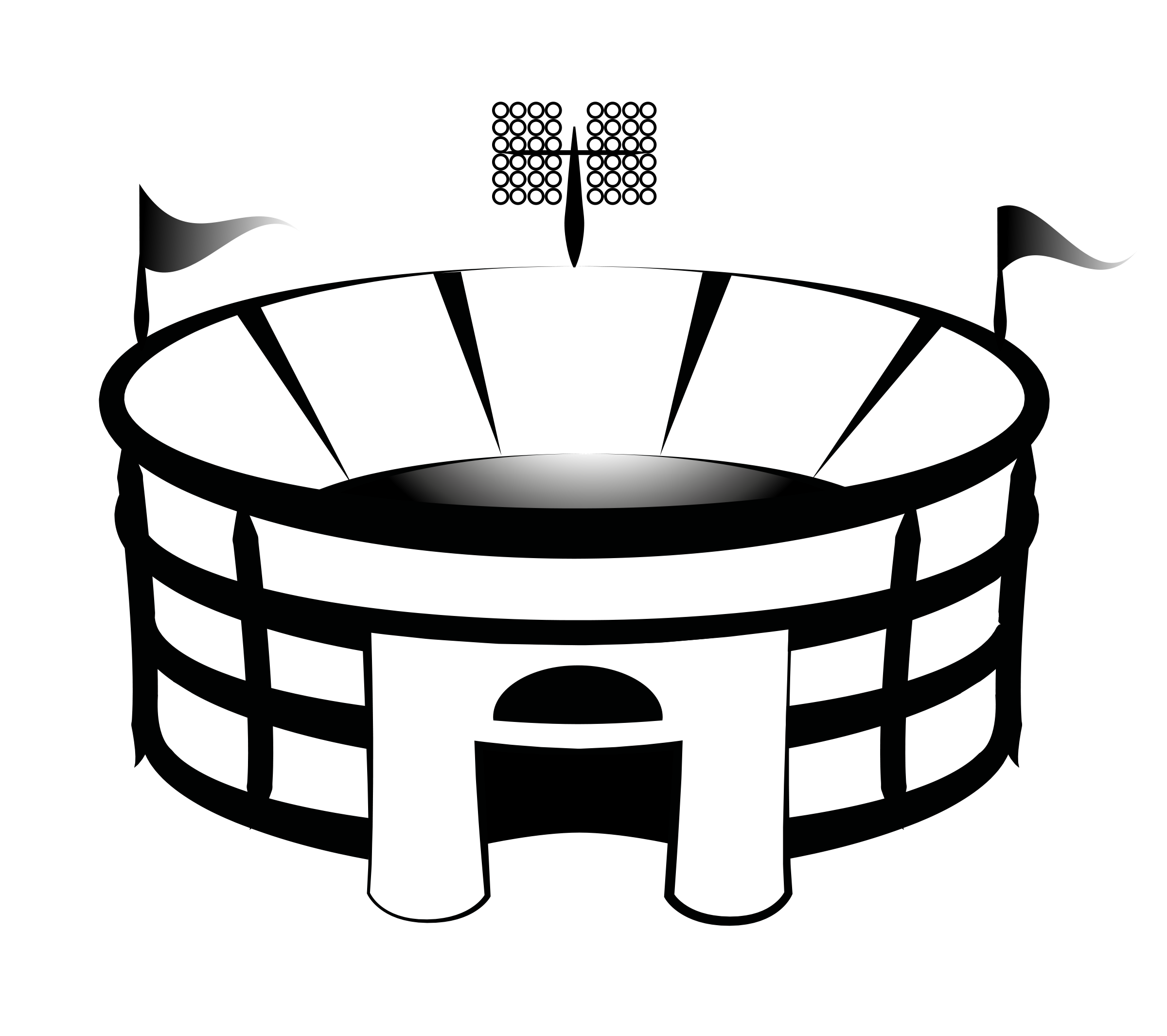 Black And White Drawing Of The Football Stadium Clipart Free Image