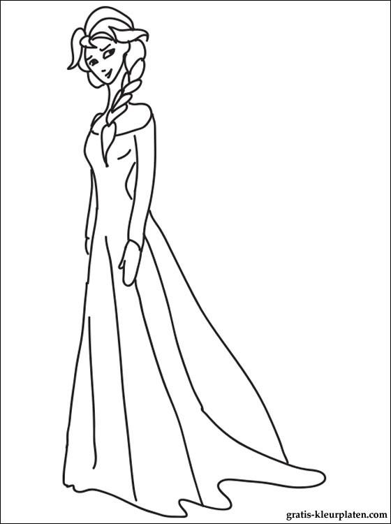 Op Deze Webpagina Ziet U Een Afbeelding Van Prinses Elsa Kleurplaat