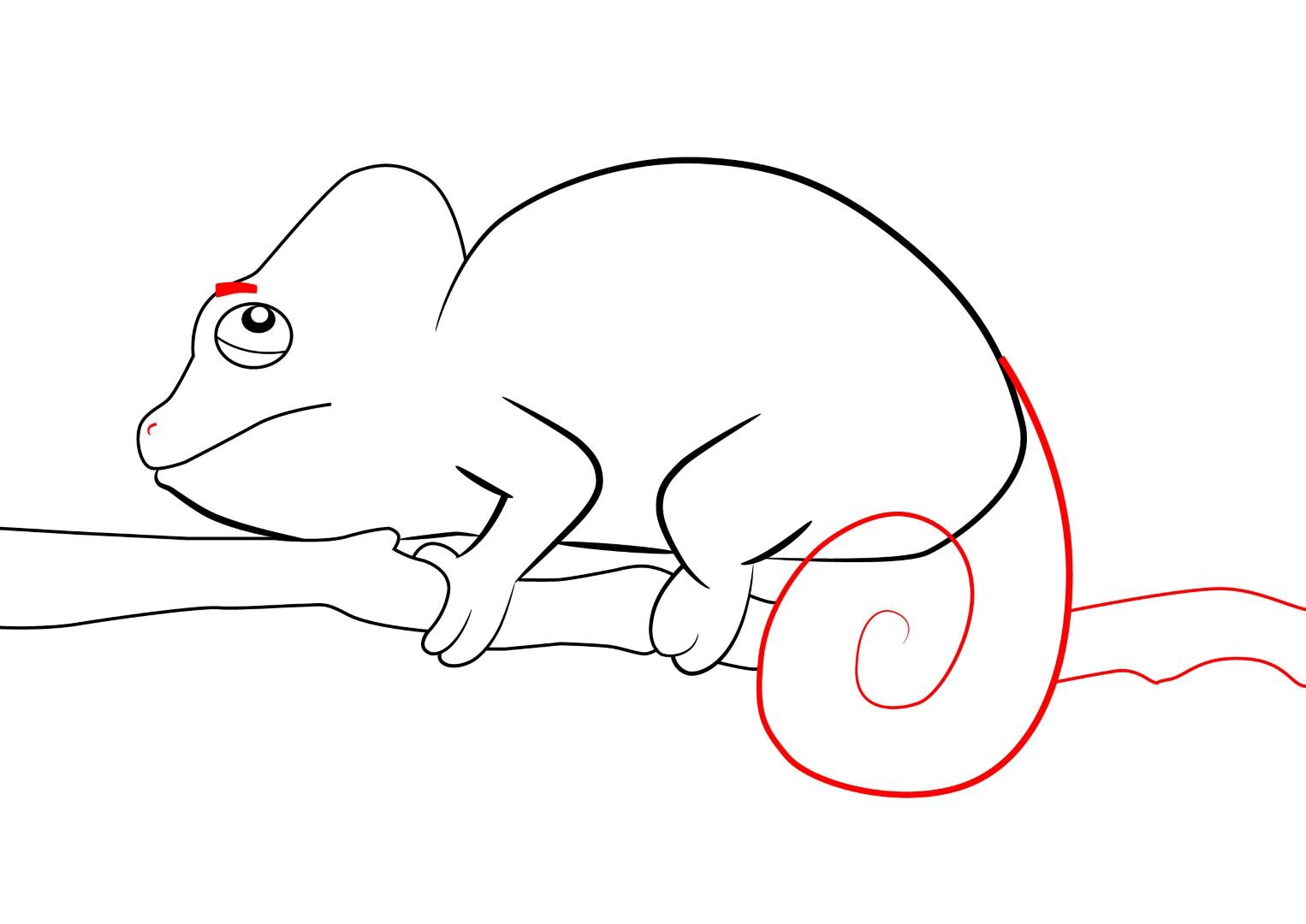 Cartoon Chameleon On Branch Outline Free Image