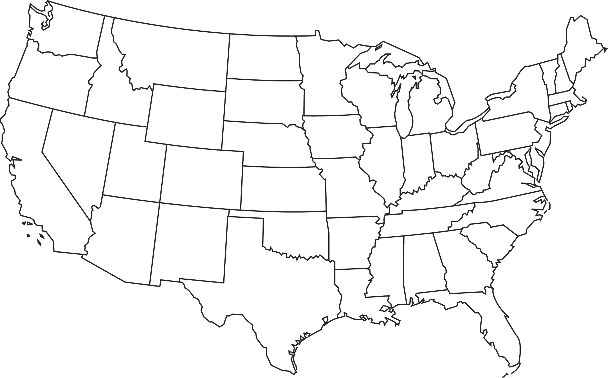 Large Blank United States Map N2 free image