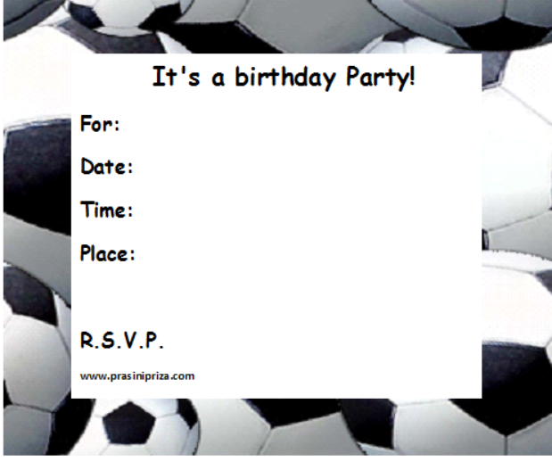 graphic about Free Printable Football Invitations referred to as No cost Printable Soccer Birthday Invites absolutely free graphic