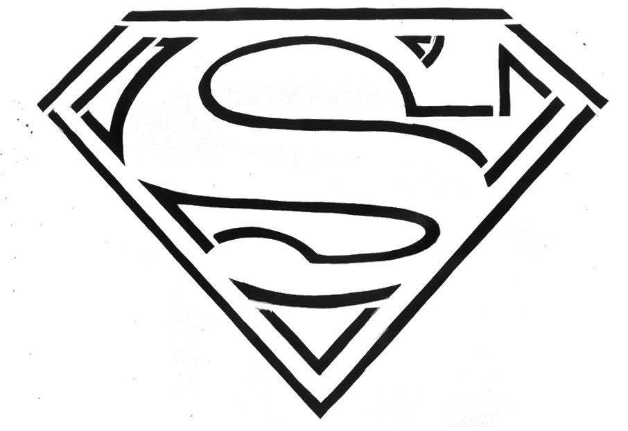 Printable Superman Logo Coloring Page Drawing Free Image
