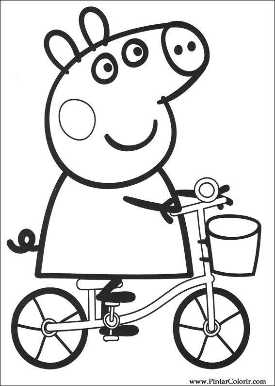 Pintar E Colorir Peppa Pig Desenho 002 Free Image