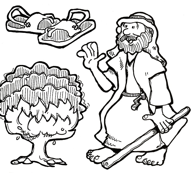 Moses and the Burning Bush Coloring Page – Children's Ministry Deals | 695x767