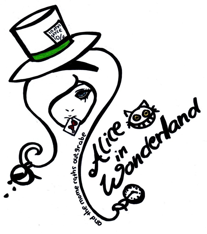 Alice In Hat Wonderland Drawing Free Image
