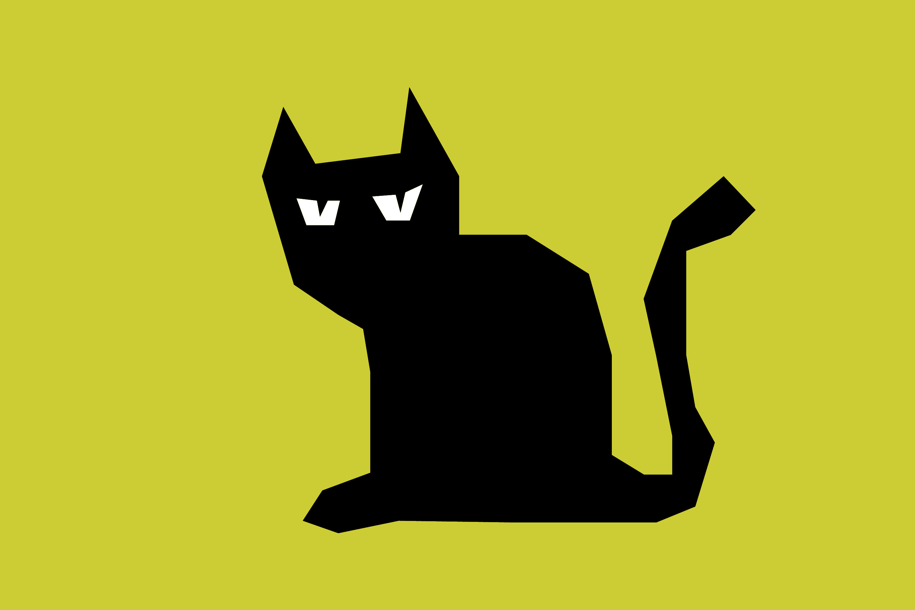 Drawn Black Cat On A Yellow Background Free Image