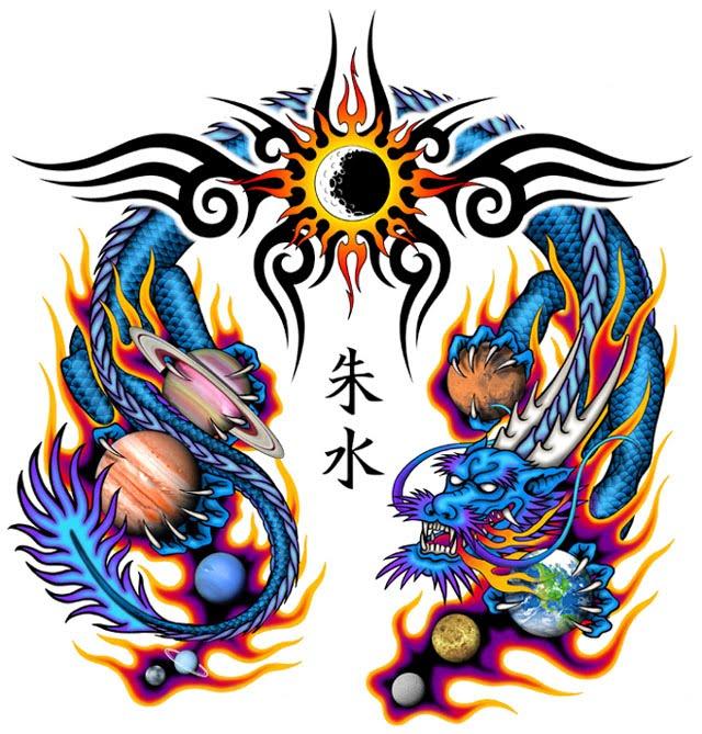 Dragon tribal tattoo design