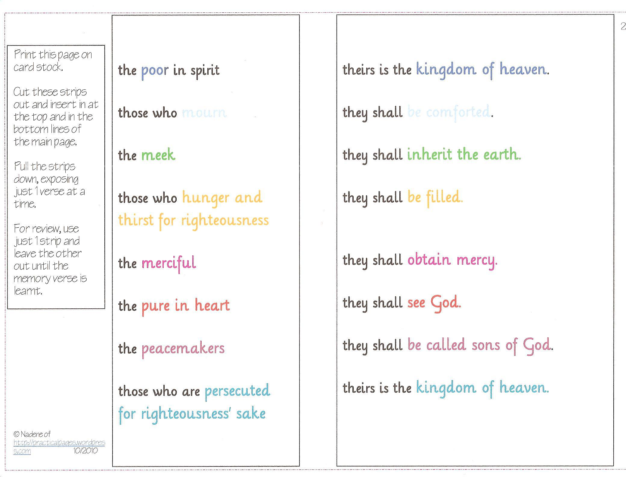 Printable Beatitudes Coloring Pages free image