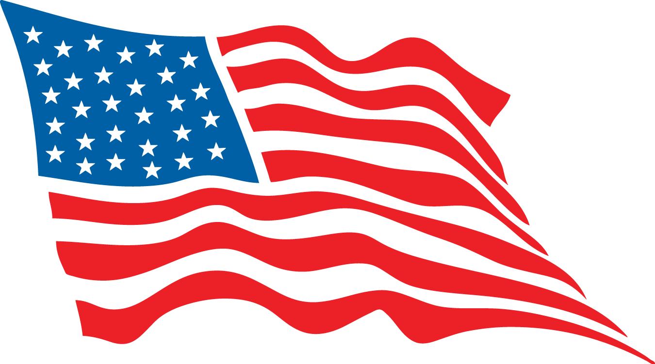 Waving American Flag Cartoon Drawing Free Image