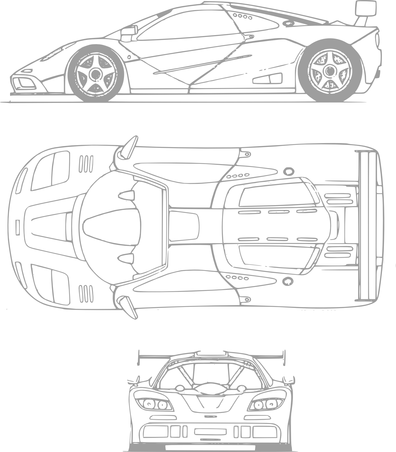Drawing Of Ferrari Car Transportation Plan Free Image