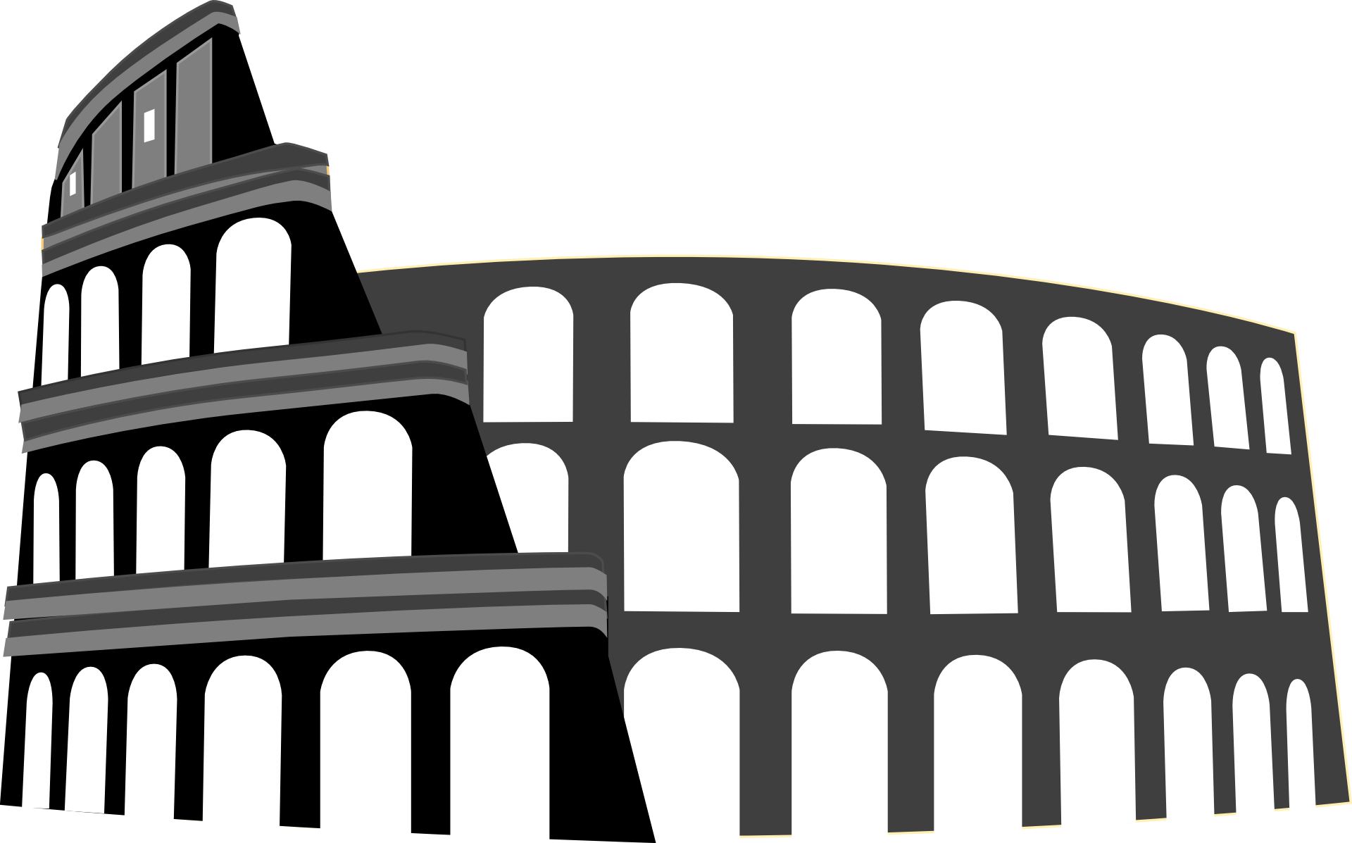 Exterior Of Colosseum Greyscale Illustration Free Image