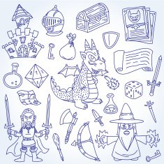 Doodle Epic and Fantasy Character Vector Outline Drawing