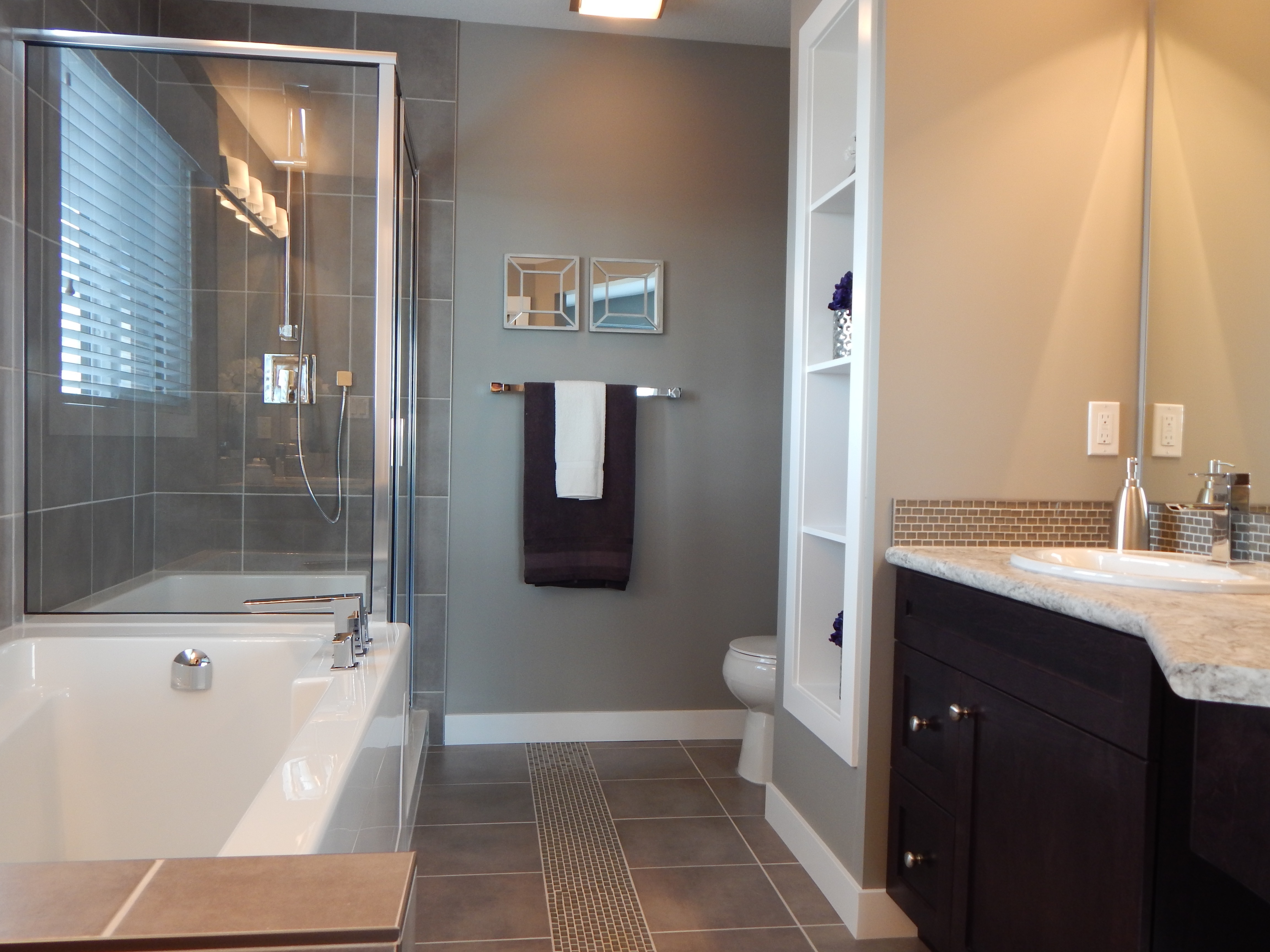 Modern Bathroom Interior With Shower Cabin And Tub Free Image
