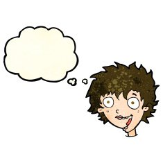 Cartoon Crazy Excited Woman With Thought Bubble N7 Free Image