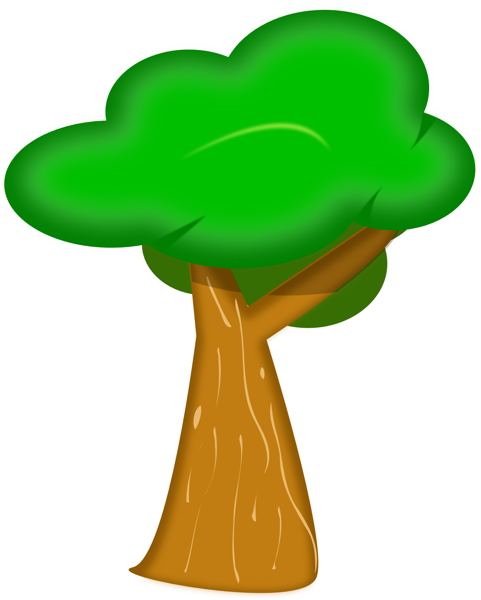 Drawing Of A Cartoon Tree With Brown Bark And Green Foliage Free Image