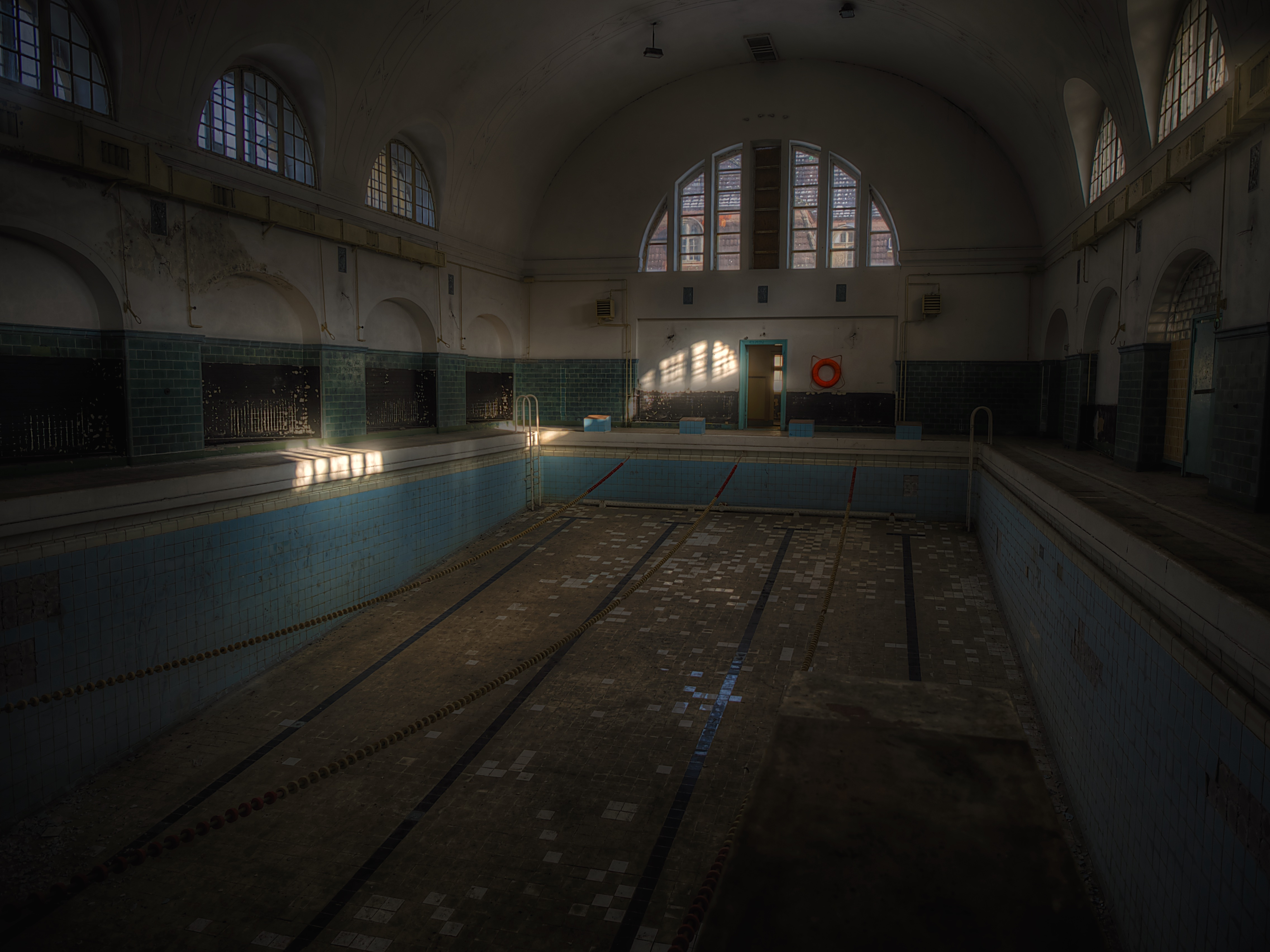 Interior Of Empty Abandoned Swimming Pool Free Image