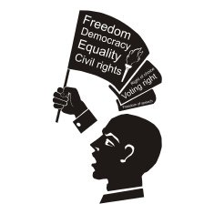 Political speech speaker with flag in hand civil rights free image