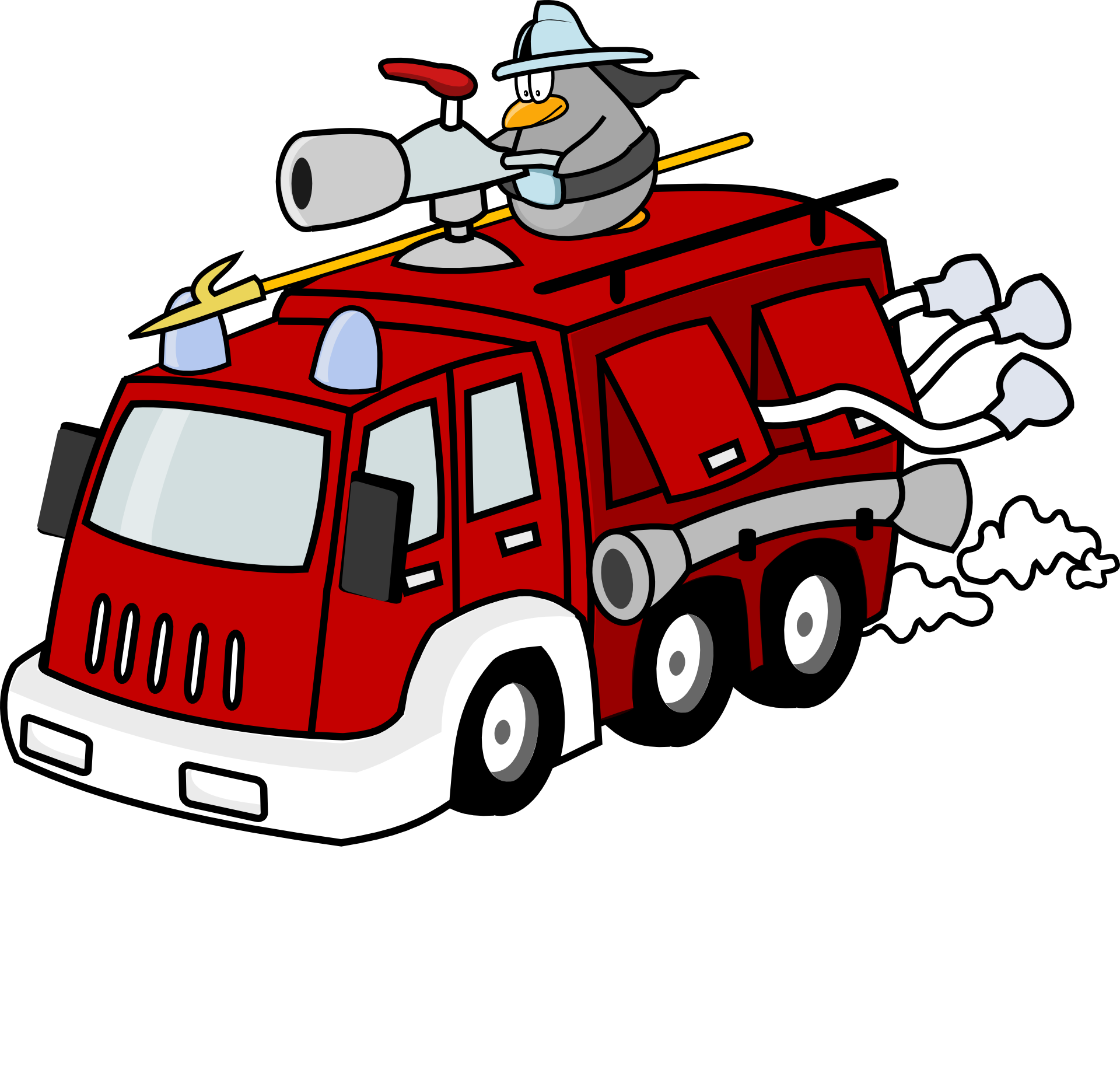 Painted Fire Truck Cartoon On White Background Free Image
