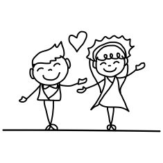 Hand Drawing Cartoon Happy Couple Wedding N5 Free Image