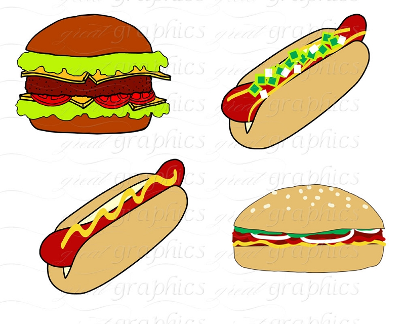 Vector Stock - Isolated hot-dog and hamburger. Stock Clip Art gg55541273 -  GoGraph