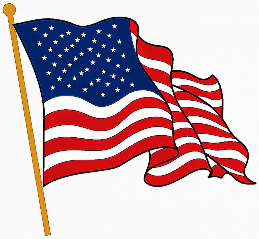 Waving American Flag Drawing Free Image