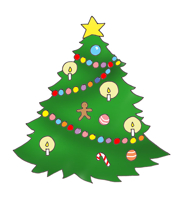 Christmas tree printable. Clip art candles baubles
