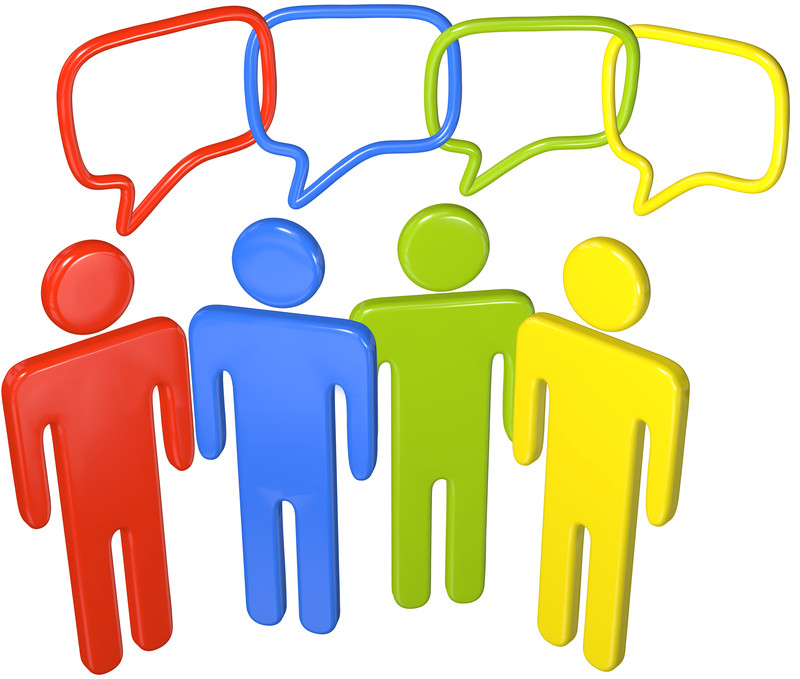 Effective Communication, concept, four persons side by side with thought  bubbles intersected free image