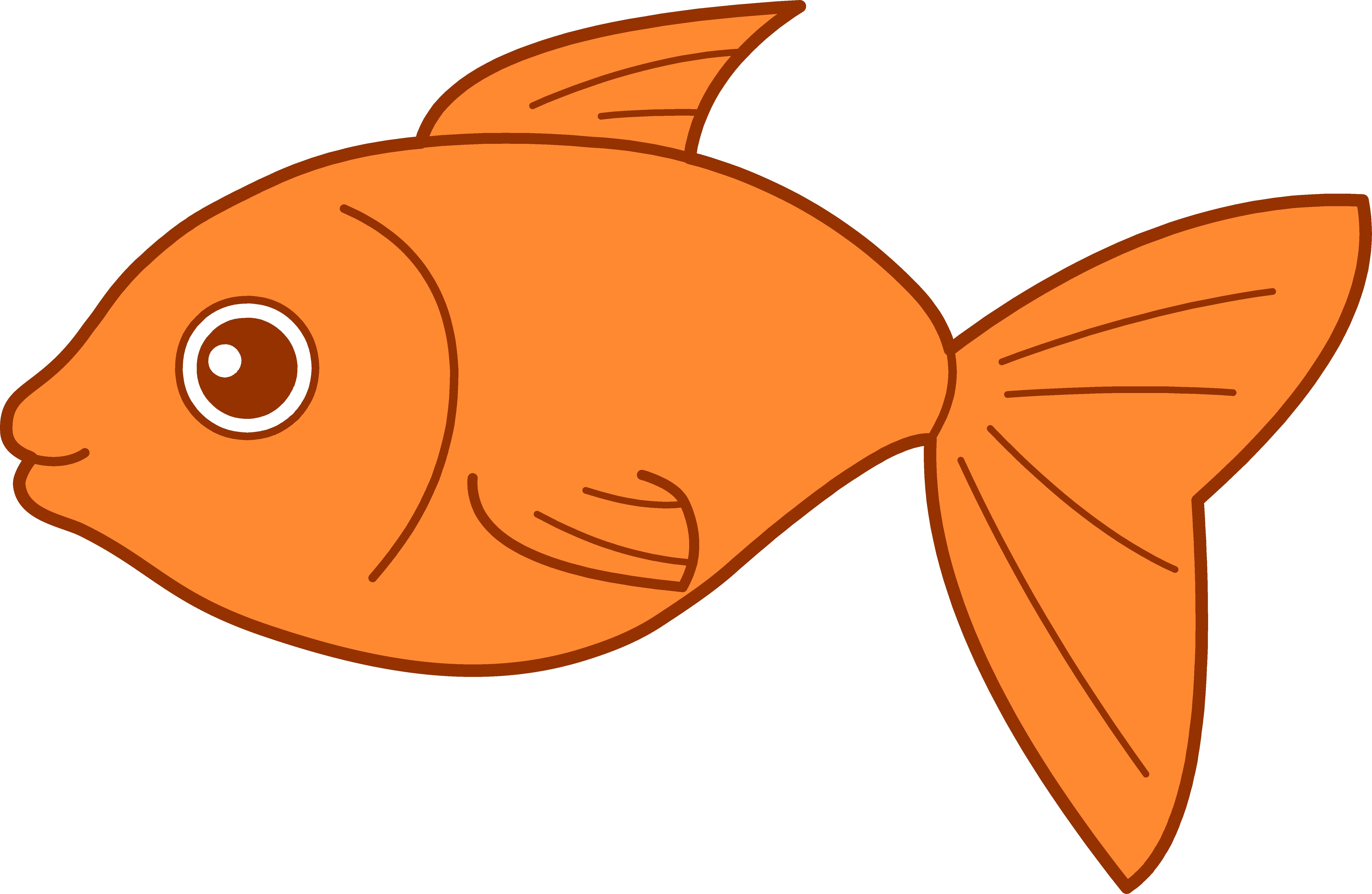 Drawing Of Orange Fish Free Image
