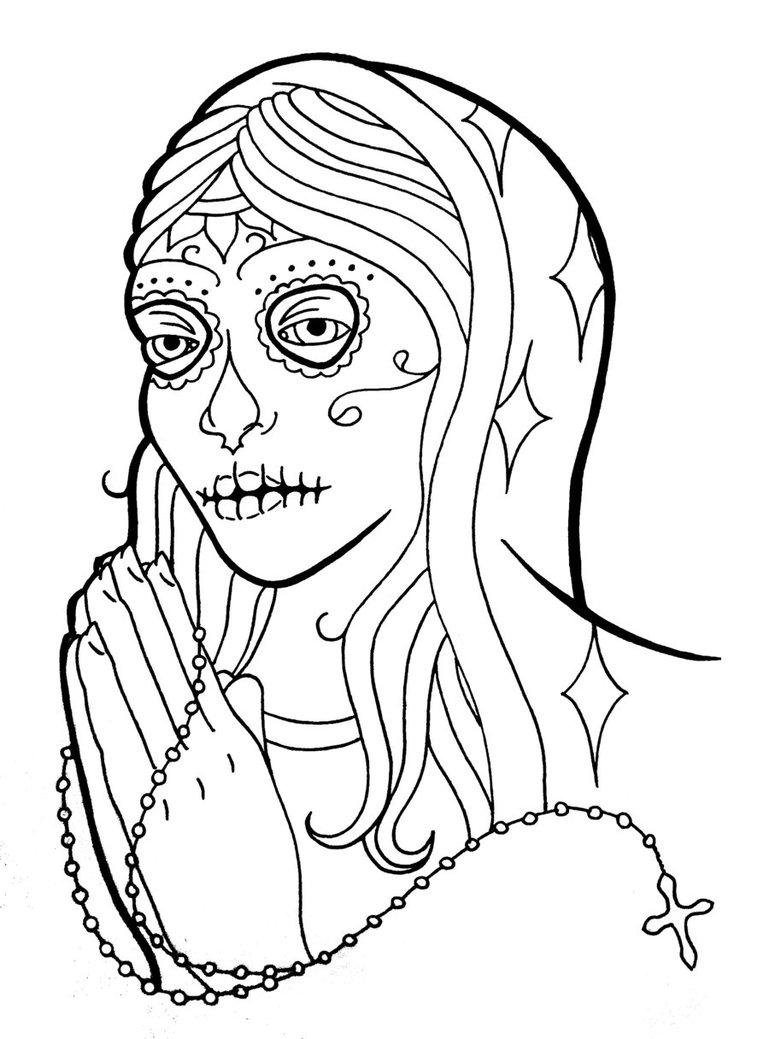 Girl Sugar Skull Drawing Free Image