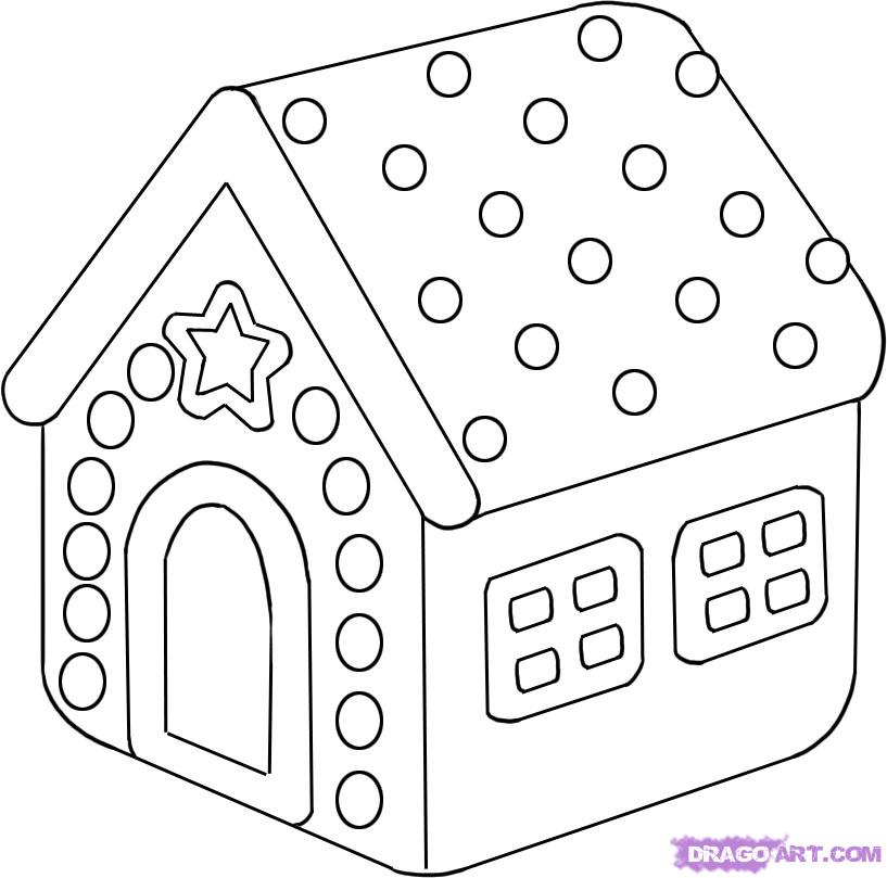 Christmas House Drawing.How To Draw A Gingerbread House Step By Christmas Stuff Free