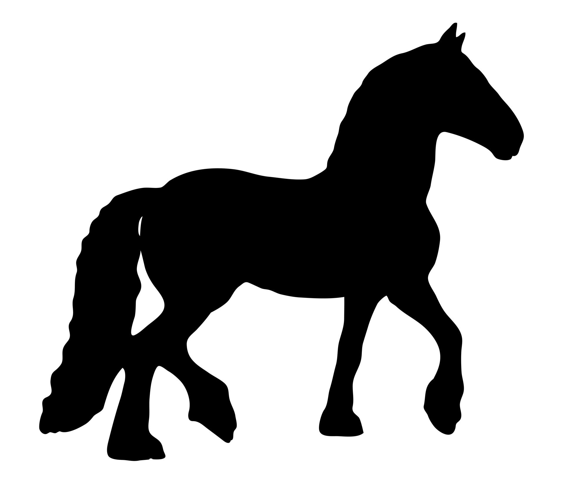 Black Horse Silhouette On A White Background Free Image