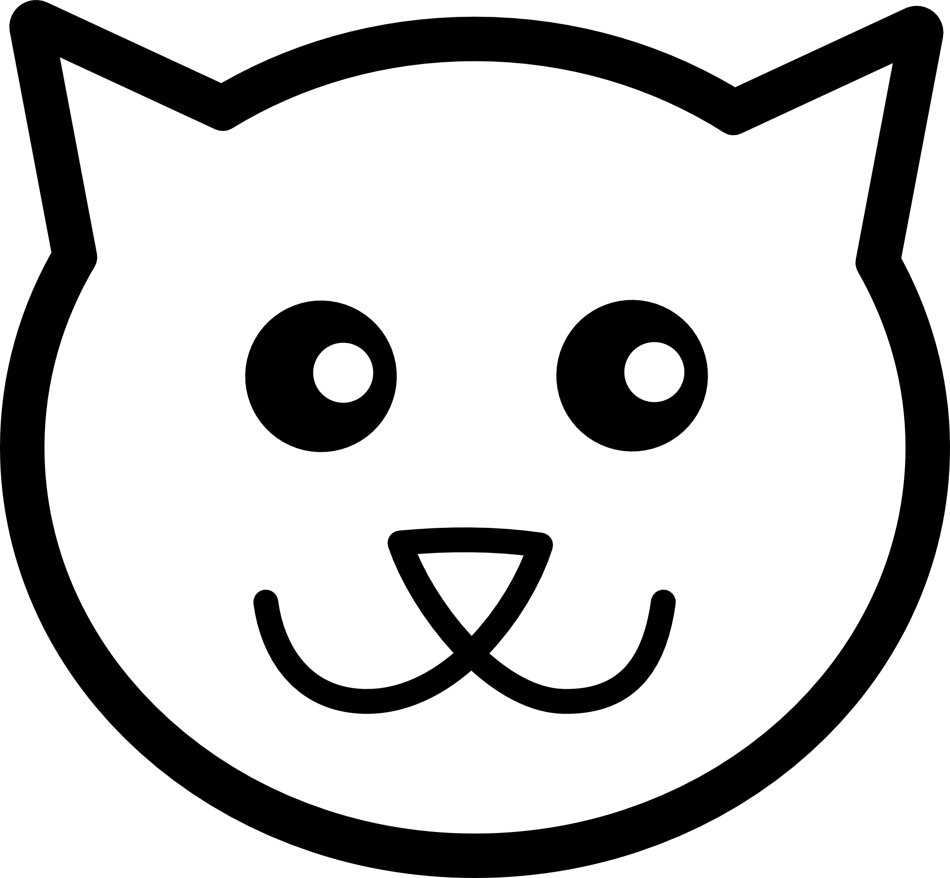 Cartoon Cat Face Black Outline Free Image