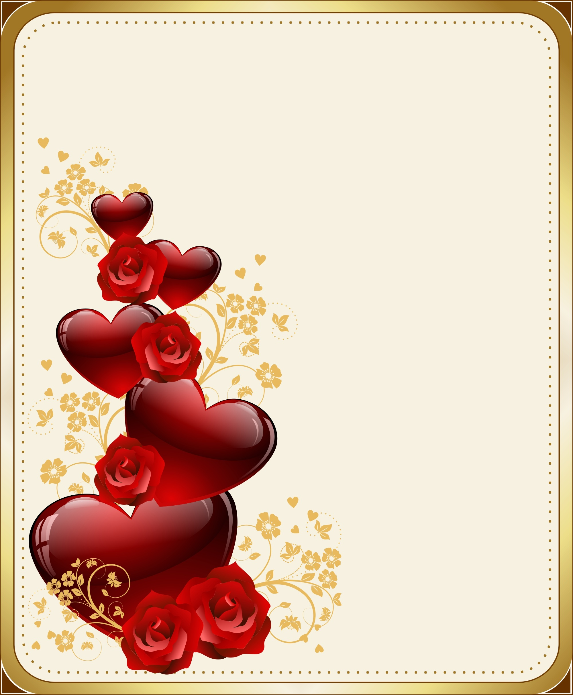 Romantic background with hearts and roses free image