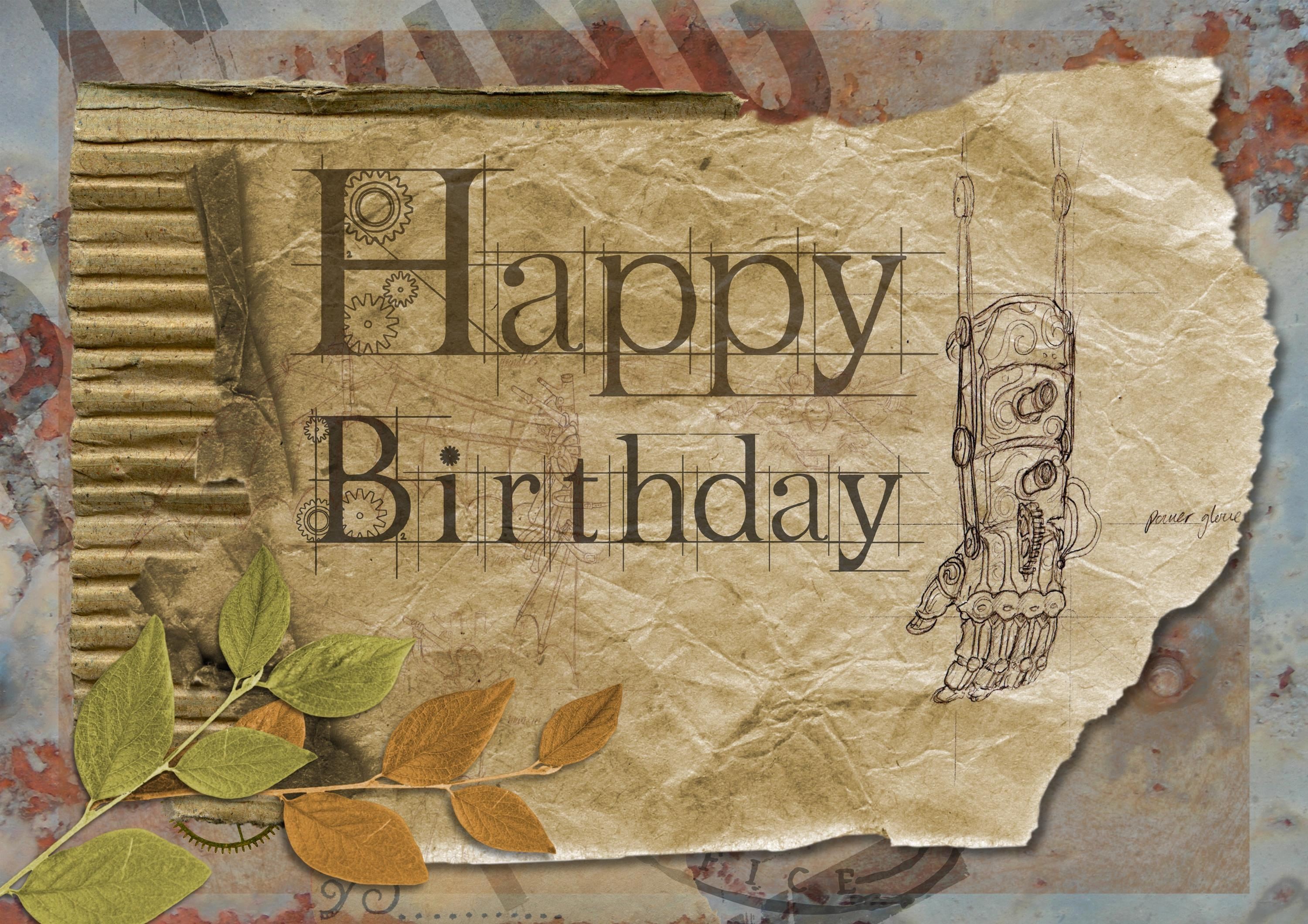 Vintage Manly Birthday Greeting Card Free Download