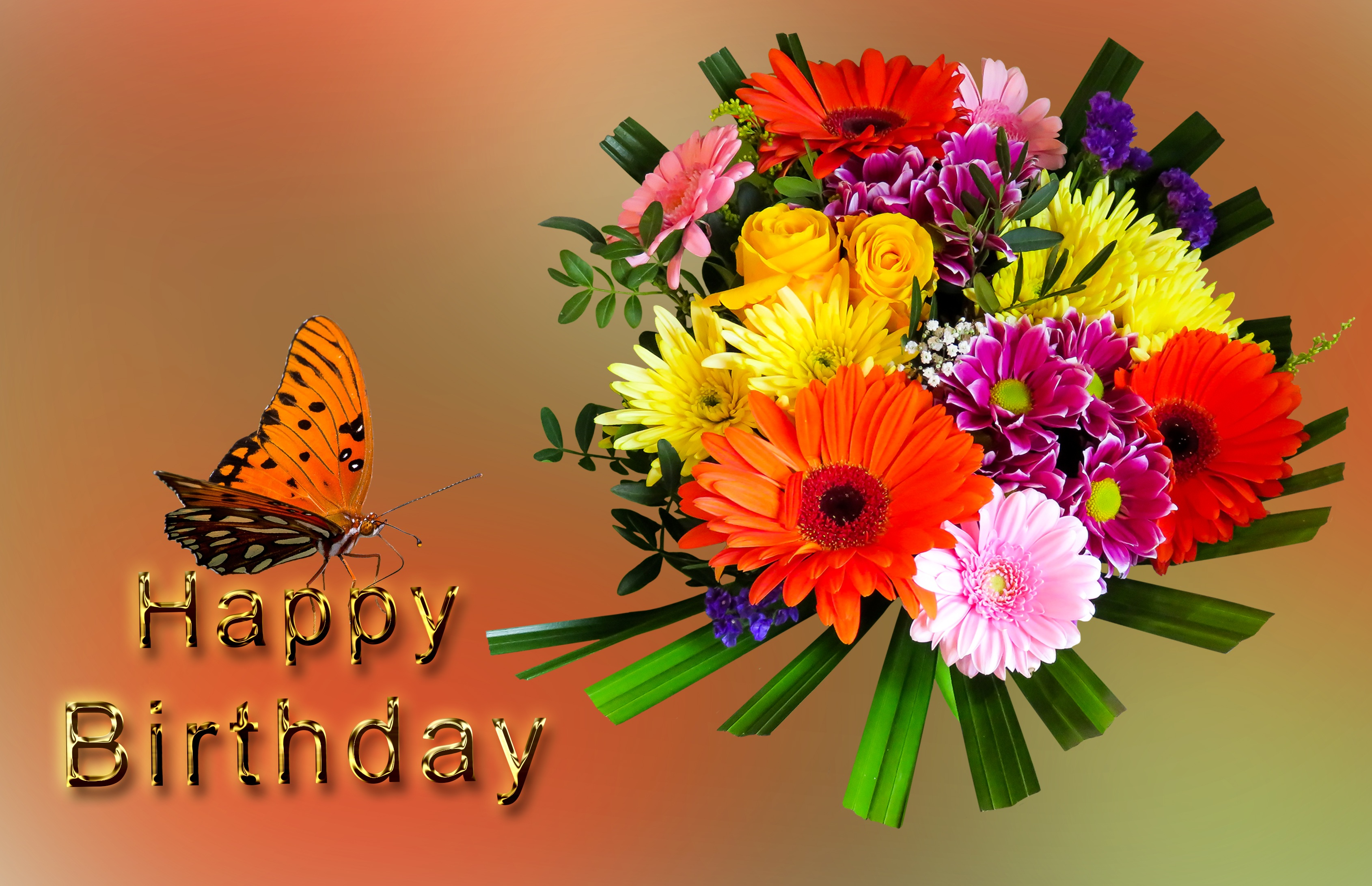 Birthday Greeting Card With Butterfly And Flower Bouquet Free Image