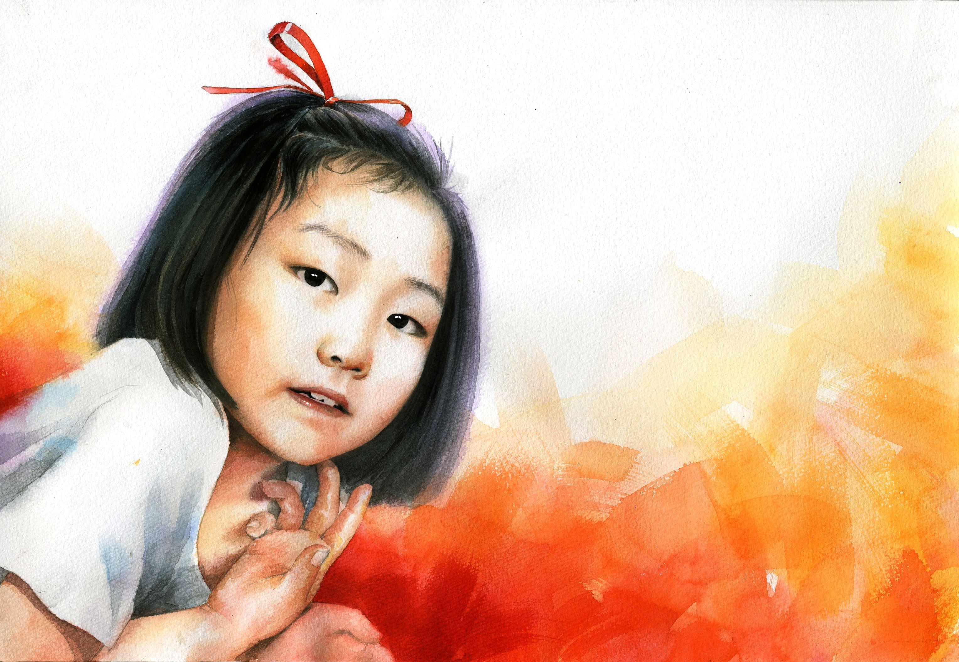 Watercolor Portrait Of A Cute Asian Girl Free Image