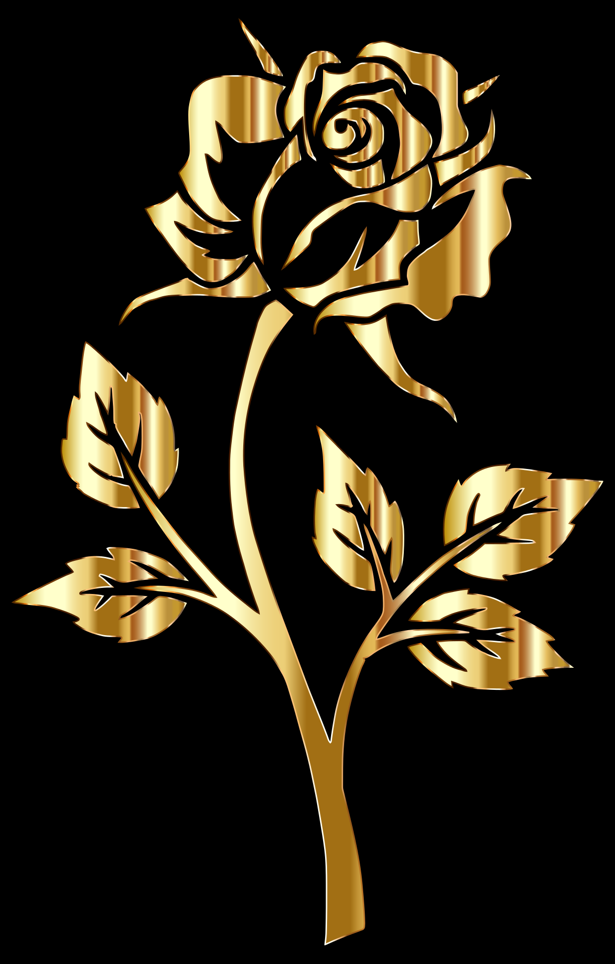 Painted Golden Rose On Black Background Free Image