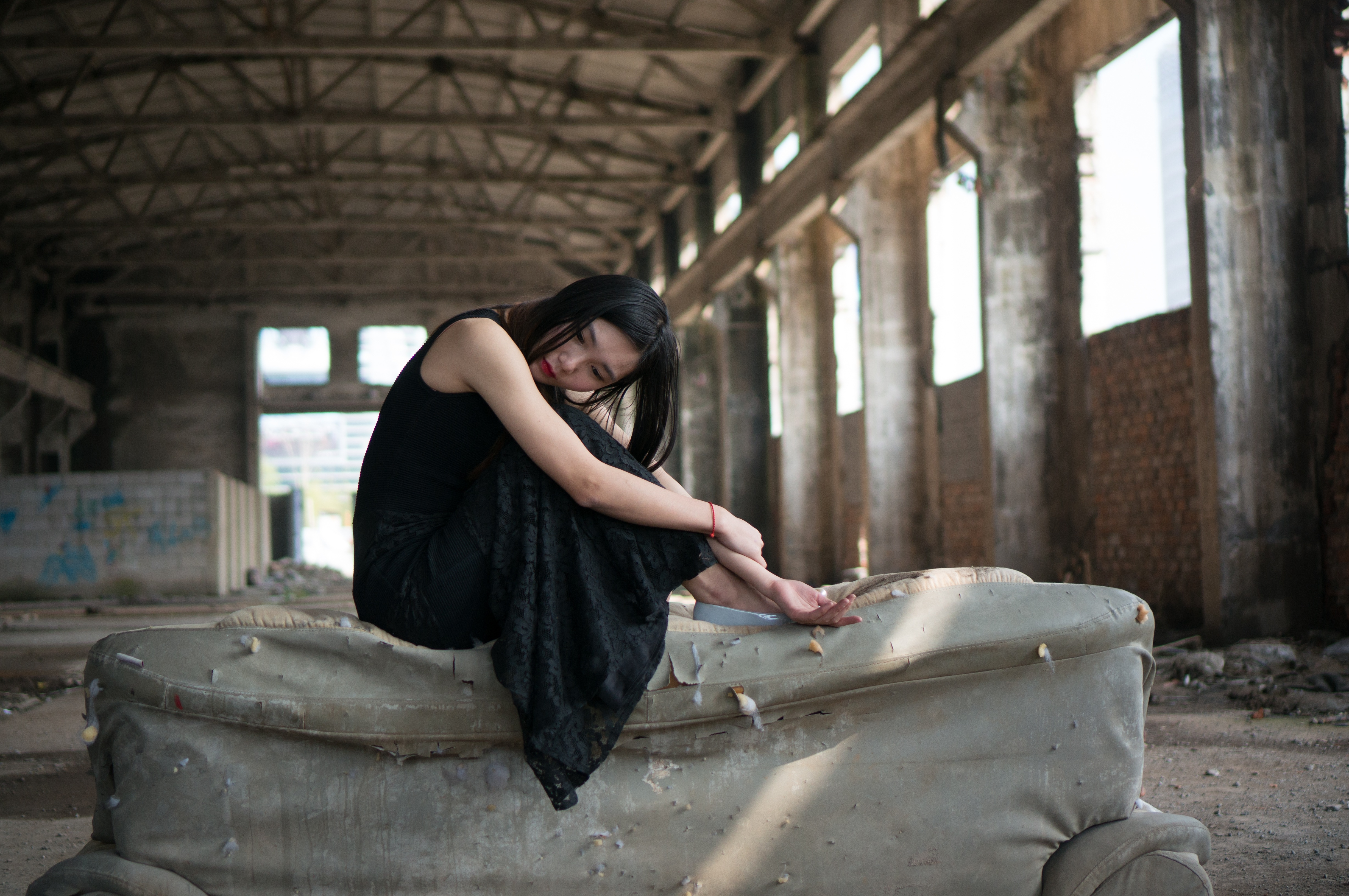 Sensual Model In An Abandoned Building Free Image