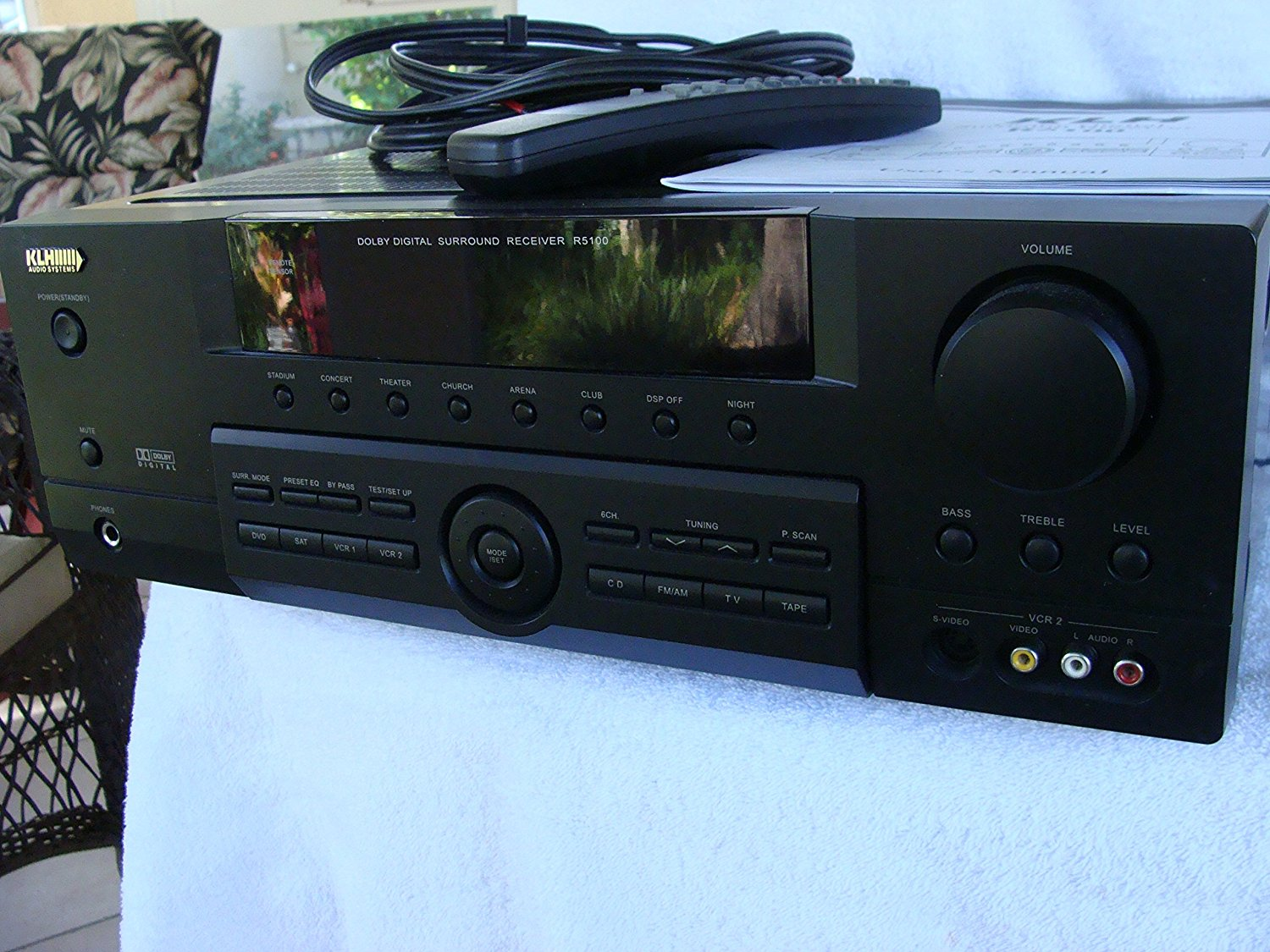 Klh r5100 surround sound receiver w/ manual, remote & cable n3.