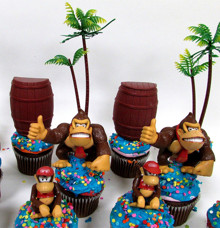 Outstanding 14 Piece Super Mario Brothers Donkey Kong Birthday Cupcake Topper Funny Birthday Cards Online Amentibdeldamsfinfo