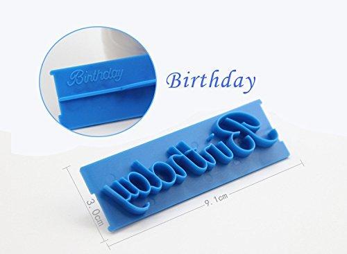 Anyana 6pcs Set Happy Birthday Best Wishes Congratulations Anniversary Plastic Cookie Cutter Cake