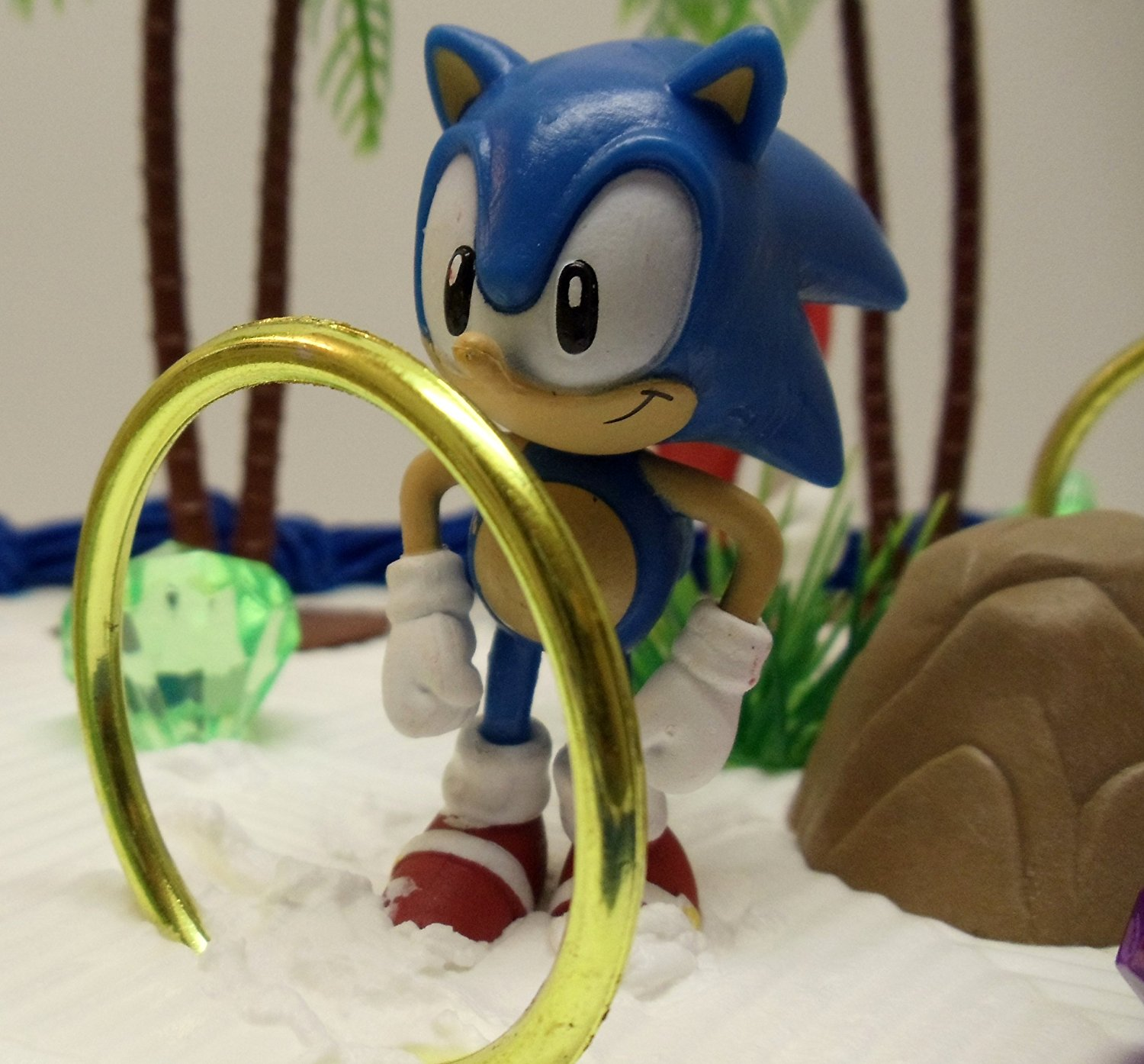 Unique 12 Piece Classic Sonic The Hedgehog Cake Topper Set Featuring 4 Sonic Rings Super Sonic Amy Rose Miles N9 Free Image