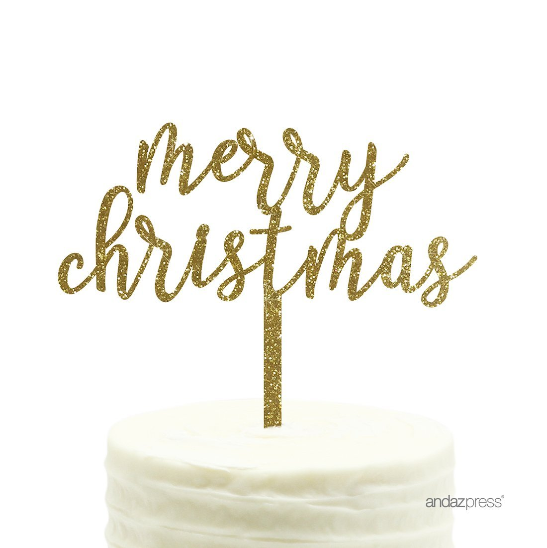 Andaz Press Holiday Acrylic Cake Toppers Gold Glitter Happy New