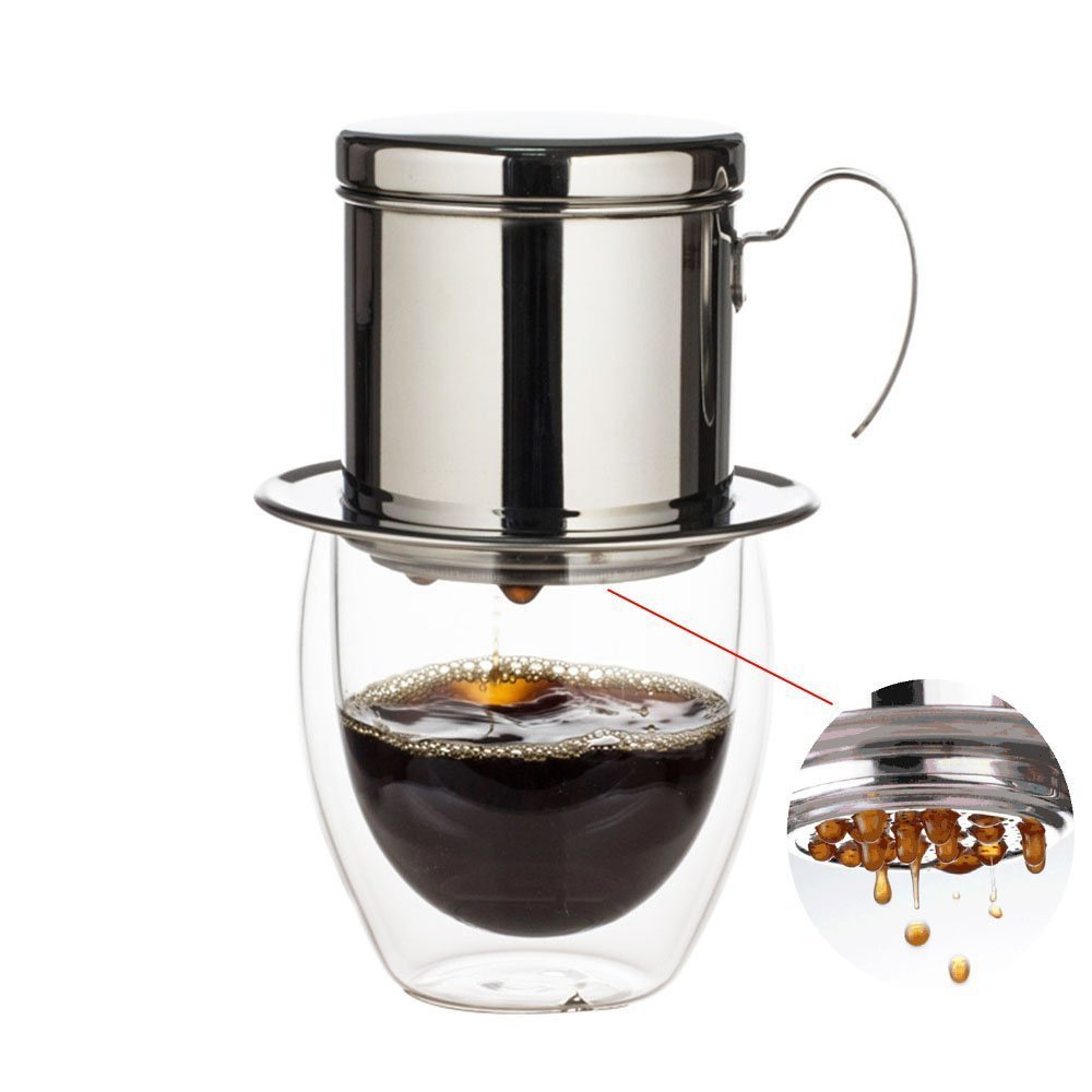 Kteam Coffee Maker Pot Stainless Steel Vietnamese Coffee Drip Filter Maker Single Cup Coffee Drip Brewer Portable N4 Free Image